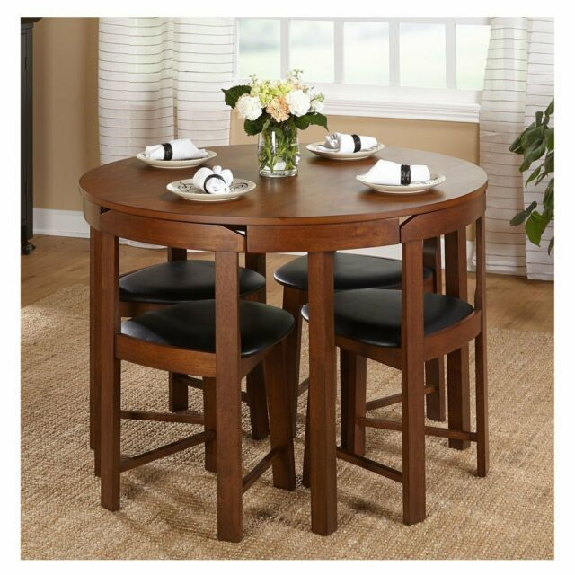 Compact Dining Set 5 Piece Round Walnut Kitchen Small Table Wood Space Saving Ebay Round Dining Table Sets Small Dining Room Table Kitchen Table Settings
