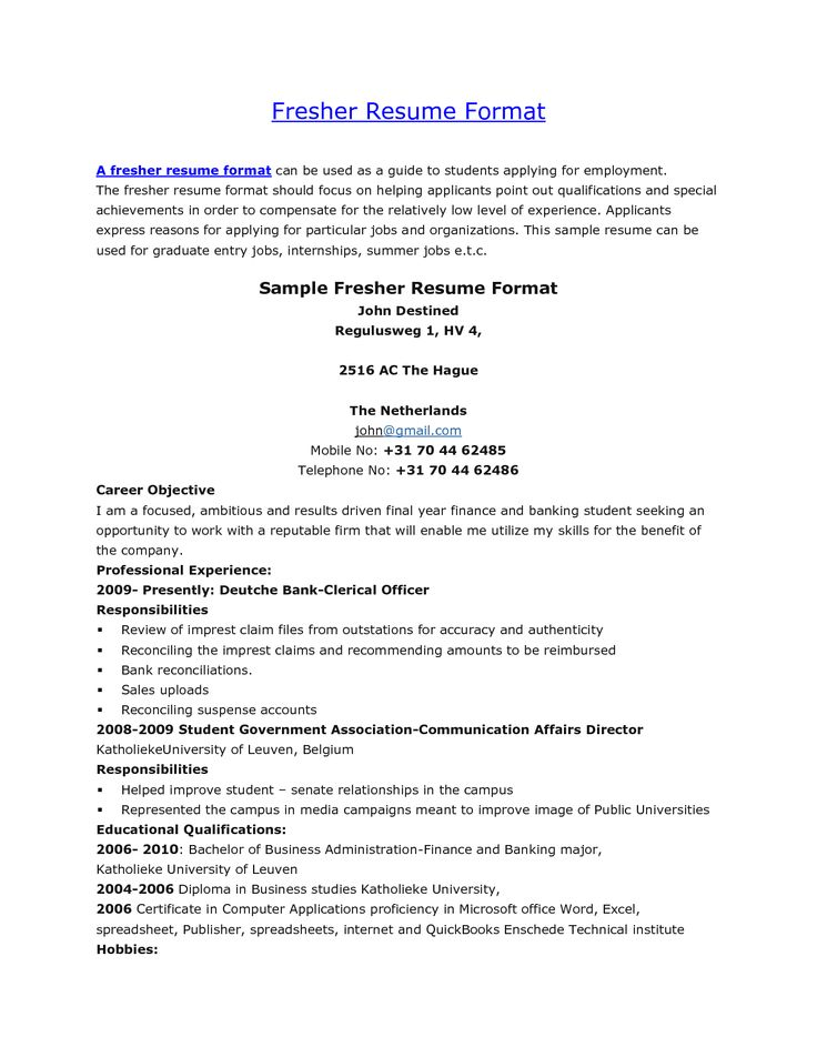 Resume Sample For Freshers Student - http\/\/wwwresumecareerinfo - benefits officer sample resume