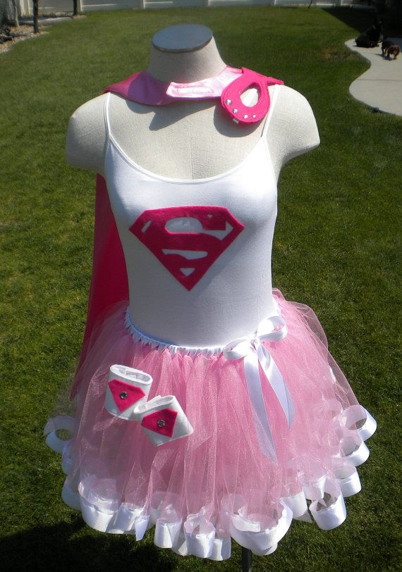 Super Girl Costume use white long sleeve shirt and puffyer tutu with white and pink tule mix does not have to have border on tutu