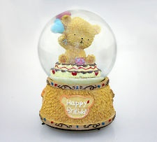 Large Musical Birthday Bear Snow Globe Crystal Ball Music Box Best Birthday Gift
