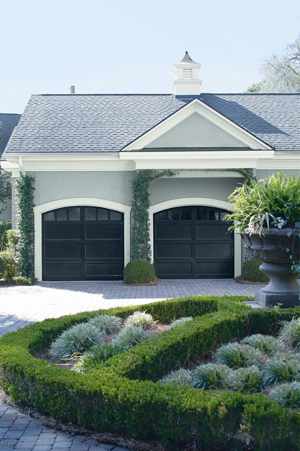 """Extend your home's beauty to the garage with Coventry Gray HC-169, Wrought Iron 2124-10, and Frostine AF-5 with Regal Select Exterior paint."""