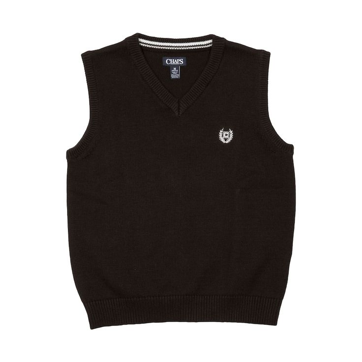 Boys 4-20 Chaps Solid Sweater Vest, Size: 14-16, Black