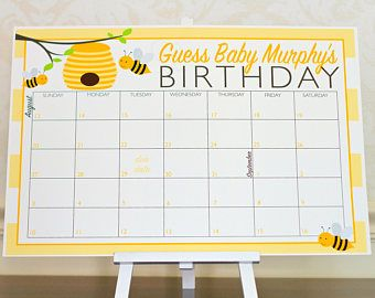 Bumble Bee Guess The Due Date Calendar Game Yellow Baby Shower Poster Gender Neutral