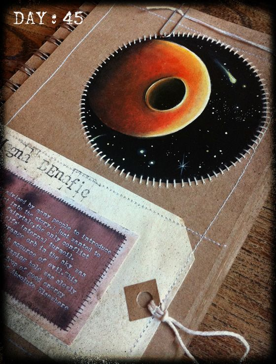 Space art sewn paper art journal sketchbook by Traci Howard(feythcrafts)