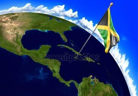 Bandera Nacional de Jamaica marcar la ubicación del país en el mapa del mundo. Render 3D