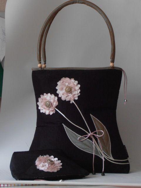 Elegáns fekete taft táskaszett, egyedileg applikált virágmotívummal