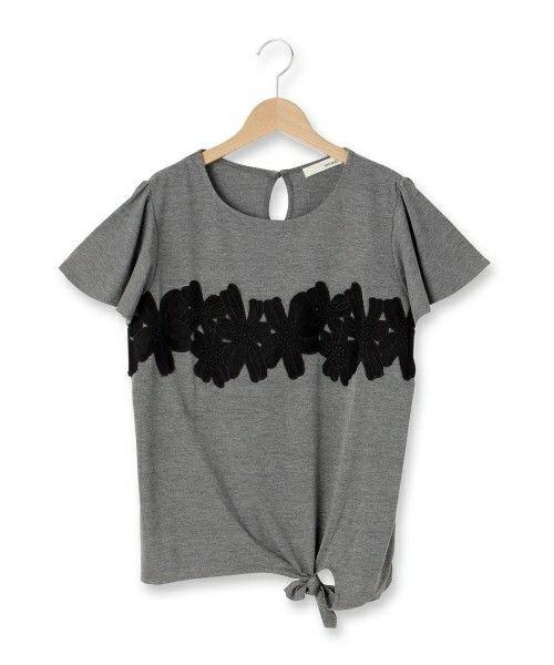 SHOO・LA・RUE LADIES(シューラルーレディース)のサイド結びモチーフレースカットソー(Tシャツ/カットソー)|グレー