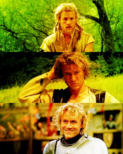 Heath Ledger in A Knight's Tale going through all of the stages of looks as a character in my favorite book. I always have dejavu.