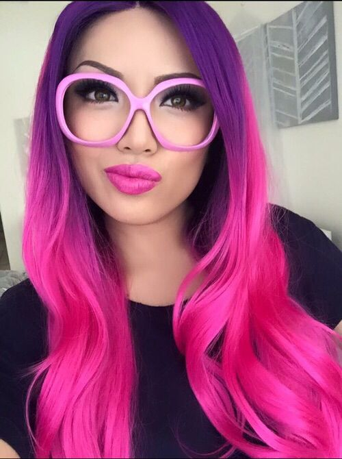 long curled hair with purple-hot-pink