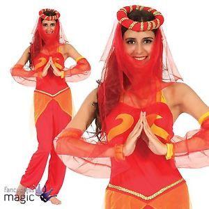 Ladies Harem Dancer Bollywood Arabian Princess Genie Fancy Dress Costume And Hat | eBay