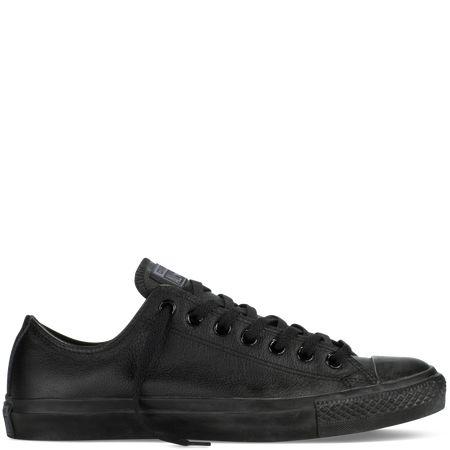 Converse Chuck Taylor Mono Leather All Black OX Low Schuhe Schwarz Leder