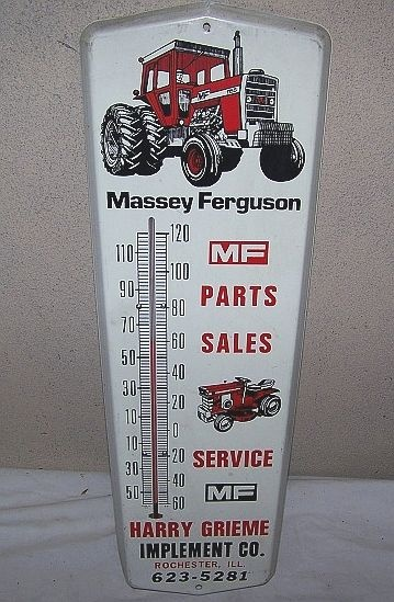 Massey Ferguson Antique Thermometer (1960 Vintage Metal Advertising Thermometers, Farm, Tractor)