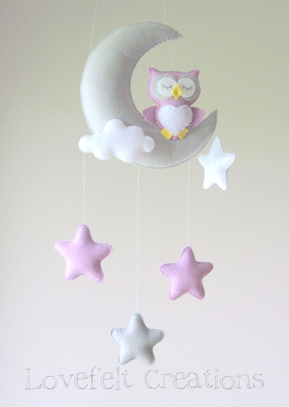 Baby mobile Owl mobile Crib Mobile Owl Baby by lovefeltmobiles                                                                                                                                                                                 Mais