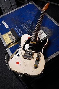 Fender Telecaster belonging to English musician Rick Parfitt, guitarist with rock group Status Quo, photographed at a rehearsal space in London on November 19, 2015.