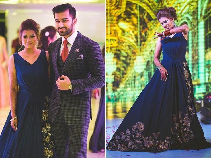 A navy blue gown by Manish Malhotra for the engagement of Krushika Samtani of WeddingSutra. Photos Courtesy- WeddingNama