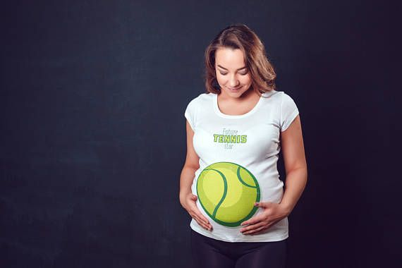 Future Tennis Star - Pregnancy & Maternity Women's T-Shirt - Funny Pregnant Shirt - Tennis Preggers - Prego Baby Shower Announcement Gift. For the mother-to-be, this maternity t-shirt affords the space you need to keep comfortable throughout your pregnancy. The snug fit and longer length allows you to maintain a slim appearance when compared to other shorter and bulkier maternity tees.
