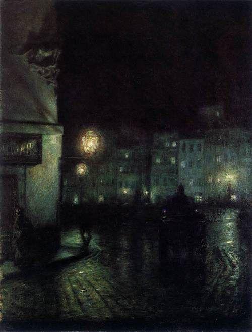 PANKIEWICZ, Józef, Polish painter (b. 1866, Lublin, d. 1940, Marseille), The Old City Market, Warsaw, at Night, 1892, Oil on canvas, 61 x 46cm, Muzeum Narodowe, Poznan