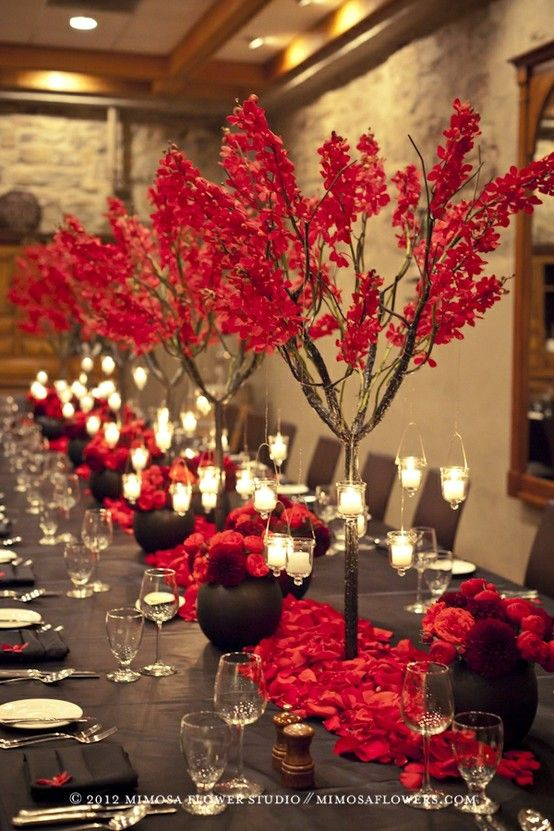 GV BD. Love red. On tables use lowe arrangements, with mirror tiles ans various…