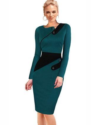Cotton Polyester Color Block Long Sleeve Knee-Length Elegant Dresses (1000338) @ floryday.com