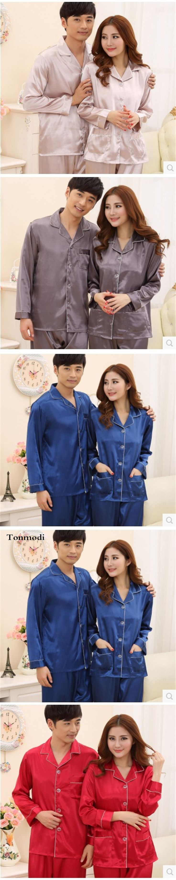 Silk Pajamas Women Spring And Autumn Love Men Silk Pyjamas Long Sleeve Sleepwear Women's Sleepwear Lounge Couple Pajama Sets