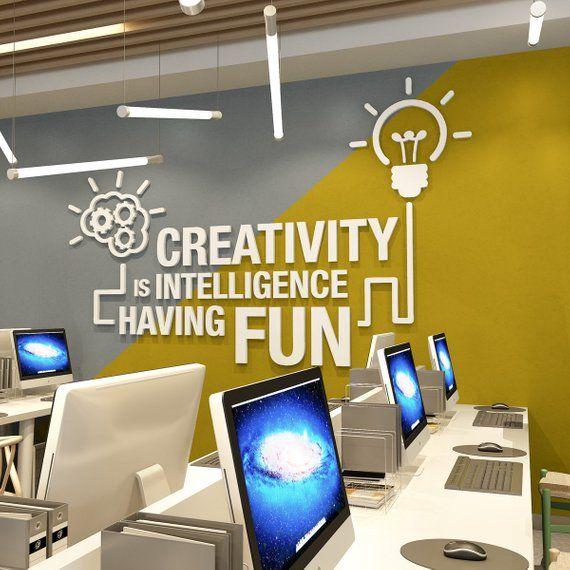 Büro-Wand-Kunst, dimensionale Buchstaben Wand – Kreativität Büro Wandkunst zu trendigen Büros, Arbeitsbereich Dekor – SKU:CRTMD