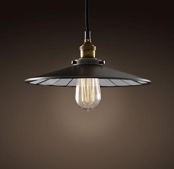 "Restoration Hardware Discontinued Lighting: Reflector Filament 11"" Pendant Aged Steel"