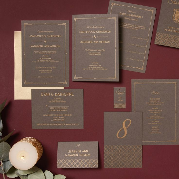 Stylish Art Nouveau Chocolate And Burgundy Wedding Invitations