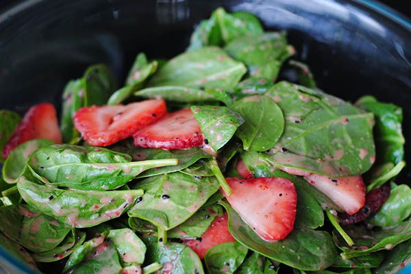 Strawberry Spinach Salad With Strawberry Dressing #Strawberries #JustAddStrawberries #client