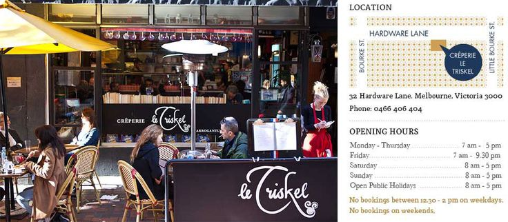 Crêperie and Café Le Triskel is found in the middle of the bustle of Hardware Lane in Melbourne's city centre.