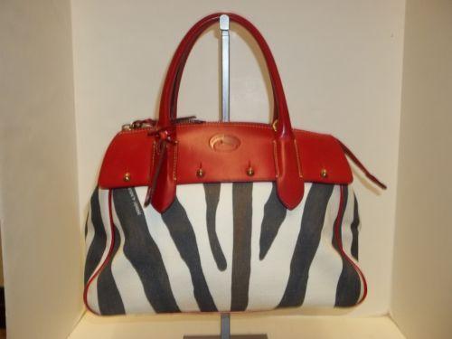DOONEY & BOURKE Zebra Print w/ Red Leather Trim Wilson Satchel Handbag