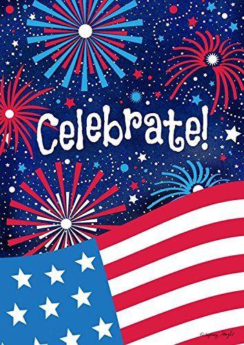 "Celebrate Patriotic House Flag Fourth of July Fireworks USA 28"" x 40"""