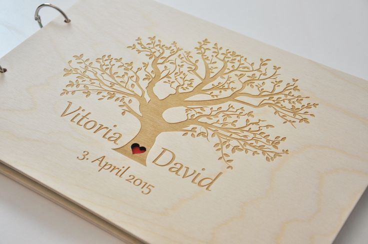 custom wood wedding guest book wedding album laser engraved