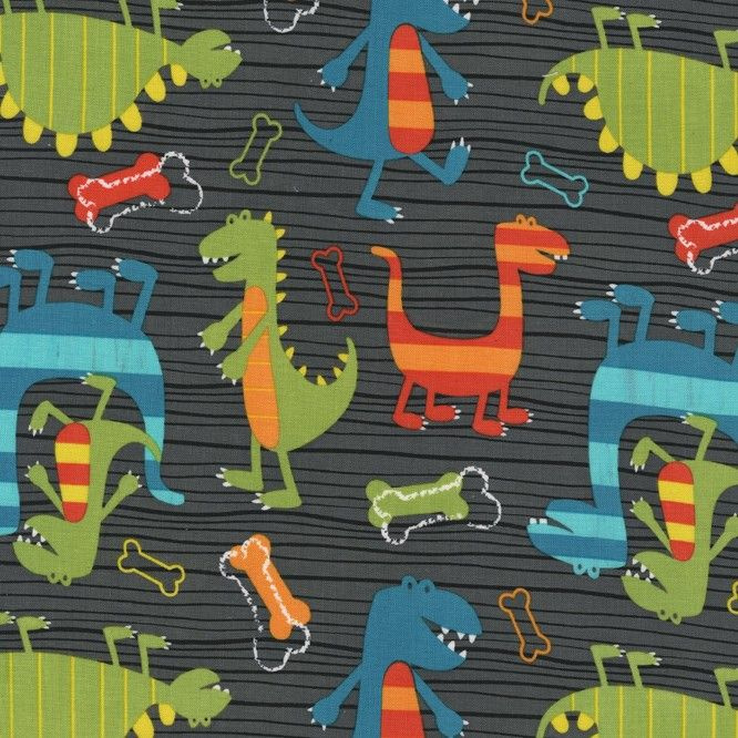 Nursery fabric by michael miller gray dino dudes cotton for Grey dinosaur fabric