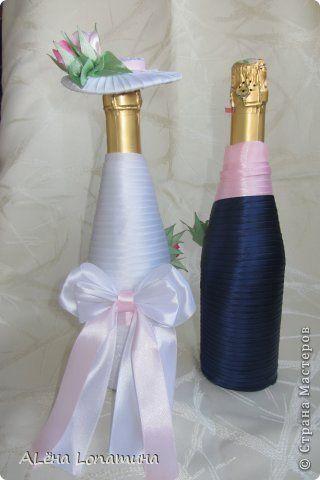 Декор предметов День рождения Свадьба Цумами Канзаши Первые свадебные бутылочки  Бусины Ленты фото 3