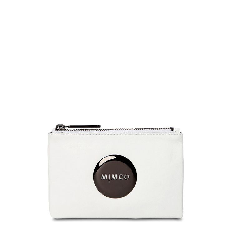 Mimco pouch white with gunmetal badge.