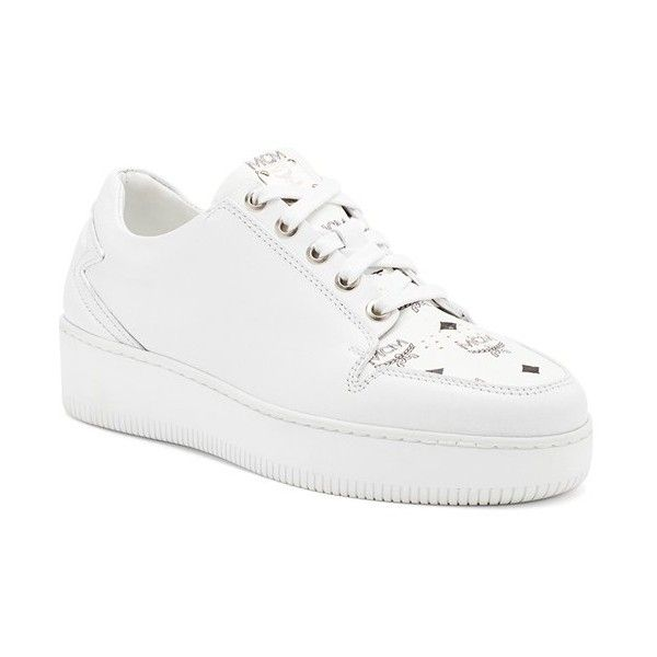 MCM 'Visetos' Logo Sneaker (720 AUD) ❤ liked on Polyvore featuring shoes, sneakers, white calf, white platform sneakers, laced shoes, mcm sneakers, white trainers and white lace up shoes