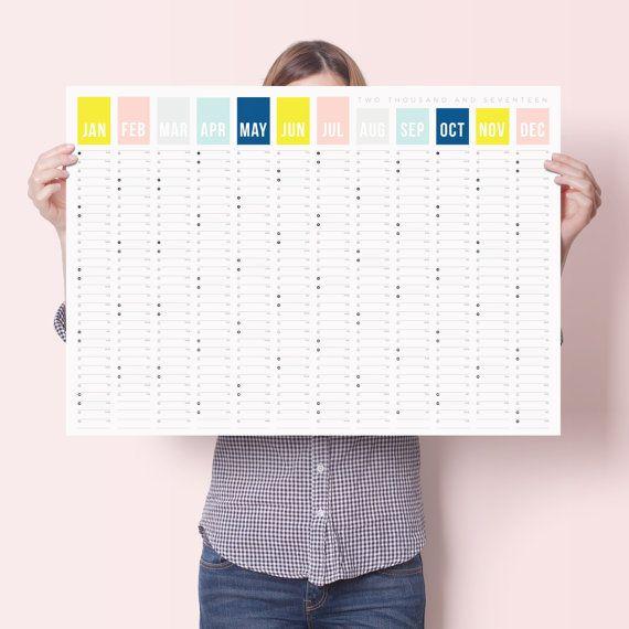 2017 kleur jaar muur kalenderjaar Planner van doodlelove op Etsy