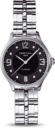 Certina Watch DS Dream Quartz #bezel-fixed #bracelet-strap-steel #brand-certina #case-material-steel #case-width-30-5mm #classic #date-yes #delivery-timescale-7-10-days #dial-colour-black #gender-ladies #movement-quartz-battery #official-stockist-for-certina-watches #packaging-certina-watch-packaging #style-dress #subcat-ds-dream #supplier-model-no-c021-210-11-056-00 #warranty-certina-official-2-year-guarantee #water-resistant-100m