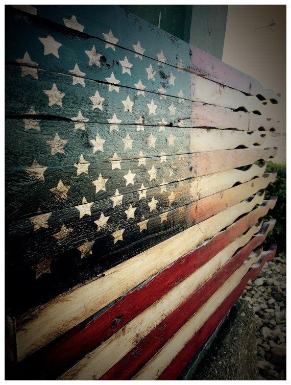American Flag American Battle Flag Tattered Flag Wood Flag