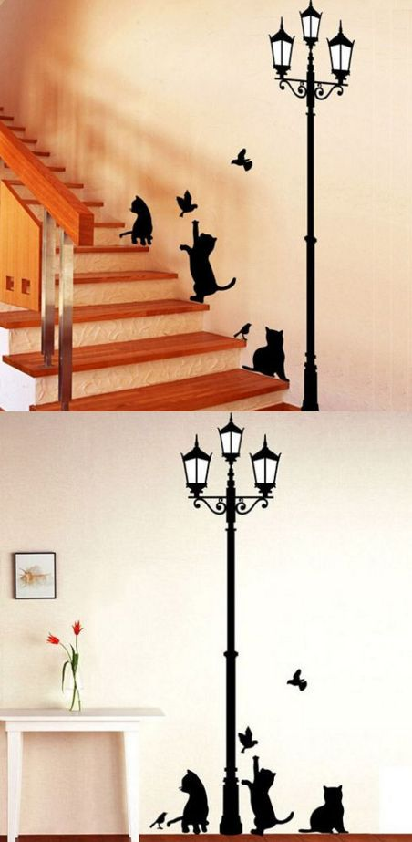 Home Decor | Ancient Lamp Cats and Birds Wall Sticker Wall Mural Home Decor Room Kids Decals Wallpaper – US $1.86