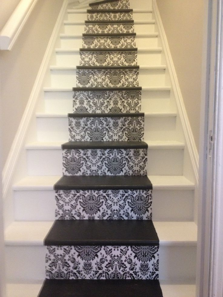 Wallpaper And Painted Stairs Stairs Pinterest
