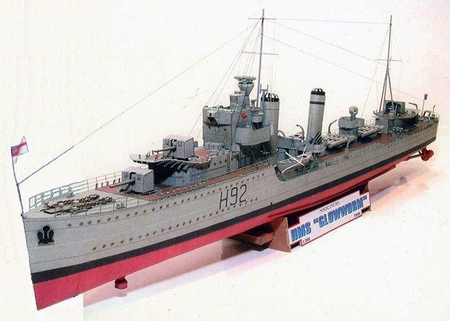 Mô hình giấy HMS Glowworm – Anh   Papercraft HMS Glowworm – Anh.