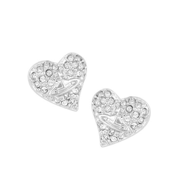 Vivienne Westwood Jewellery Tiny Diamante Heart Stud Earrings ($98) ❤ liked on Polyvore featuring jewelry, earrings, heart shaped stud earrings, heart earrings, stud earring set, clear crystal earrings e asymmetrical earrings