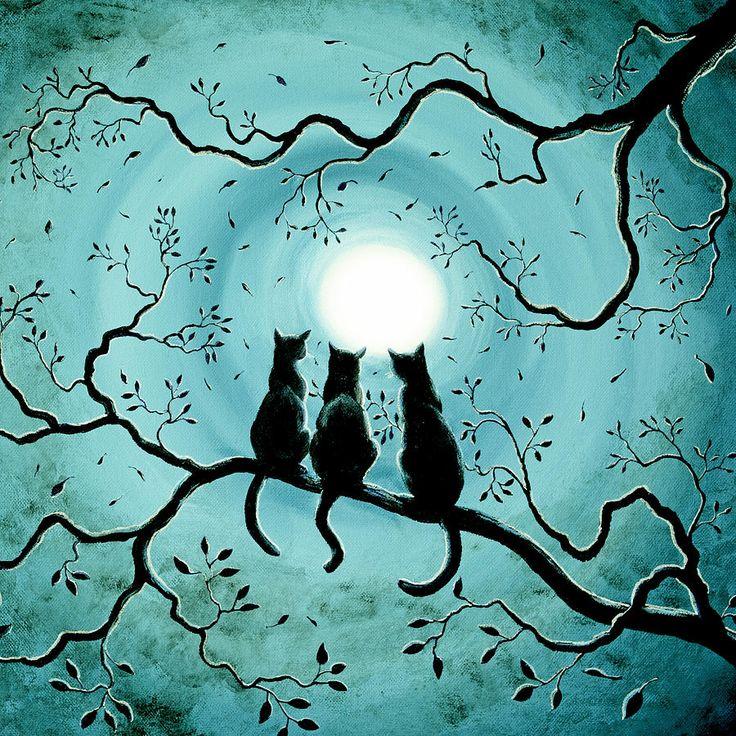 Original Painting Three Black Cats Under A Full Moon