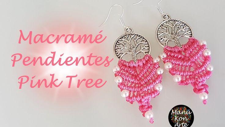 DIY Tutorial Macramé Pendientes PINK TREE. Pink Tree Earrings