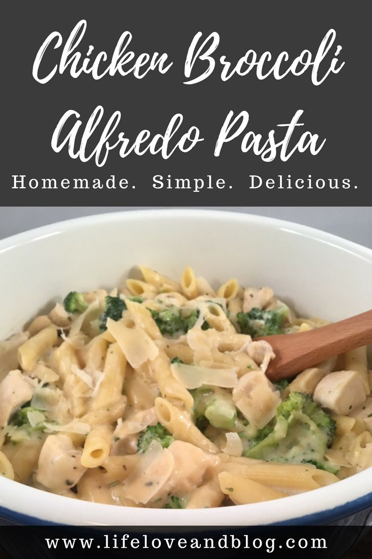 This homemade chicken broccoli alfredo pasta is simple and delicious. Chicken breast, broccoli, homemade cream sauce and shaved parmesan cheese baked together for a meal that will become a family favorite. #chickenalfredo #chickenbroccolialfredopasta #easydinner #chickenpasta