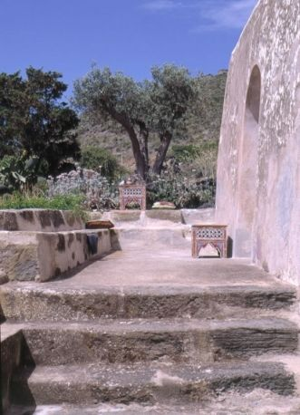 Stone steps leading to the garden of Giorgio Armani's home in Pantalleria, the ancient Cossyra, an Italian island in the Strait of Sicily in the Mediterranean Sea