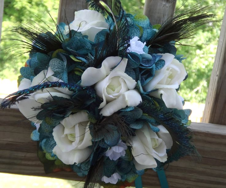 Teal hydrangea peacock bridal bouquet set.