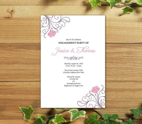 Engagement Invitation Template DIY By WeddingTemplateStock  Free Engagement Party Invitation Templates Printable