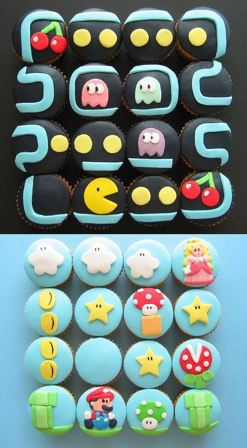 Old school gaming(Pac Man and Mario cupcakes)